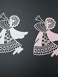 50psc/lot angel Laser Cut Paper Place Name Card Wine Glass Paper Card For Wedding Party Home Decoration Supplies