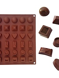 1 pc 30 Cavity Silicone Chocolate Mold 6 Shape Flower Diamond Square Hemisphere Heart Ice Cube Tray Sugar Mold DIY Random Color