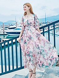 cheap -Women's Beach Going out Holiday Butterfly Sleeve Loose Swing Dress - Floral Artistic Style Vintage Style Chiffon Lace up Maxi V Neck