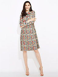 cheap -Women's Boho Sign spring  printing temperament ladies long-sleeved long section collar pleated dress