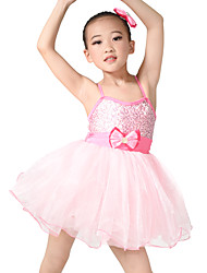 cheap -Kids' Dancewear Dresses Training Spandex Tulle Bow(s) Sleeveless Natural