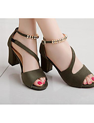 cheap -Women's Shoes Leather Leatherette Summer Basic Pump Heels for Casual Black Gray Green Pink