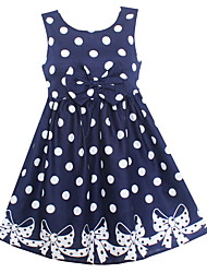 Girls Dark Blue Dot Bow Dresses Party Pageant Casual Kids Clothes Princess Children Clothing