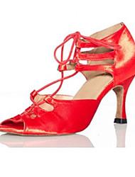"""abordables -Mujer Latino Seda Sandalia Rendimiento En Cruz Tacón Stiletto Negro-Blanco Morado Rojo 3 """"- 3 3/4"""" Personalizables"""