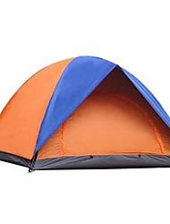 baratos -2 Pessoas Tenda Dupla Camada Barraca de acampamento Ao ar livre Prova-de-Água, Á Prova-de-Chuva, Dobrável para Acampar e Caminhar 1000-1500 mm Fibra de Vidro, Terylene
