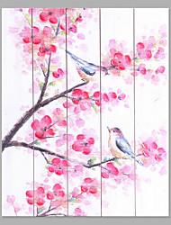 economico -Dipinta a mano Floreale/Botanical Verticale,Di tendenza Cinque Pannelli Tela Hang-Dipinto ad olio For Decorazioni per la casa