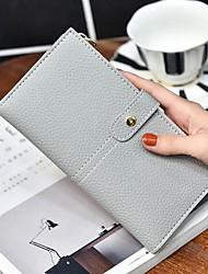 Men Bags All Seasons PU Checkbook Wallet for Casual Gray Peridot Pink