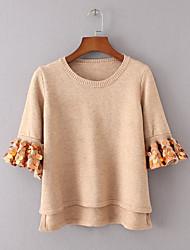 Standard Pullover Da donna-Per uscire Casual Semplice Moda città Tinta unita Rotonda Mezza manica Lana Primavera Inverno SottileMedia