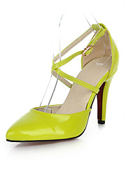 cheap -Women's Heels Comfort Novelty Patent Leather Spring Fall Casual Outdoor Dress Walking Comfort Novelty Buckle Stiletto HeelGreen Ruby