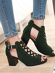 Women's Shoes Nubuck leather Spring Comfort Gladiator Sandals For Casual Black Green Almond