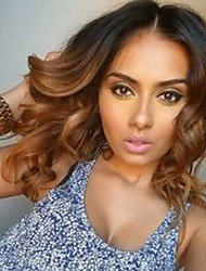 cheap -Human Hair Lace Wig Body Wave Full Lace Glueless Full Lace 100% Hand Tied African American Wig Natural Hairline Ombre Hair 130% Density