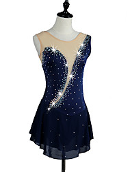 Figure Skating Dress Women's Girls Girls' Ice Skating Dress Navy Blue Rose Red Blue Rhinestone High Elasticity Performance Skating Wear