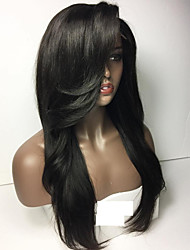 Guleless Full Lace Wig Straight Hair Wigs With Heavy Bangs Natural Hair Wig Guleless Lace Front Wigs For Black Women Fast Shipping