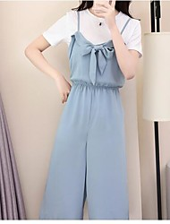 Women's Other Casual Casual Summer T-shirt Pant Suits,Solid Round Neck Short Sleeve Micro-elastic