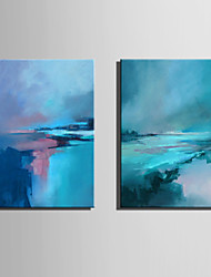 cheap -Hand-Painted Abstract Vertical, Contemporary Other Modern Canvas Oil Painting Home Decoration Two Panels