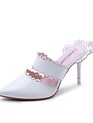 Women's Heels Slingback Spring Summer TPU Walking Shoes Dress Stitching Lace Stiletto Heel White Black Almond 3in-3 3/4in