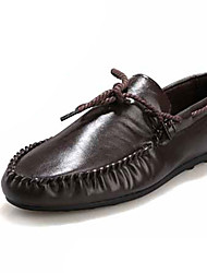 Men's Boat Shoes Light Soles Spring Summer PU Casual Lace-up Flat Heel White Black Brown Under 1in