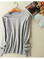 Women's Casual/Daily Simple Regular Pullover,Solid Round Neck Long Sleeves Cashmere Fall Medium Micro-elastic