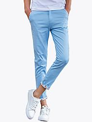 Da uomo A vita medio-alta Divertente Semplice Attivo Media elasticità magro Chino Pantaloni,Taglia piccola Tinta unita Monocolore