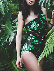 Womens Vintage High Neck Tribal Leaf One Should off One Piece Swimsuit