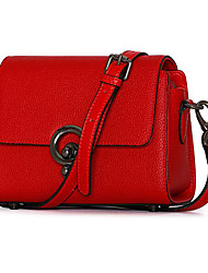 Women Bags All Seasons Cowhide Shoulder Bag for Casual Outdoor Black Red