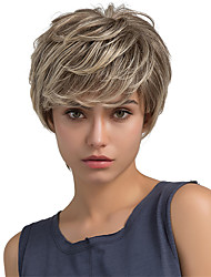 cheap -Fluffy Natural Partial Fringe Short Hair Human Hair Wigs For Woman