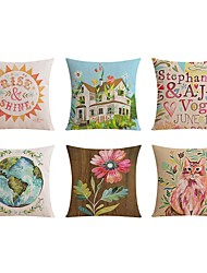 cheap -6 pcs Linen Pillow case Bed Pillow Body Pillow Travel Pillow Sofa Cushion Pillow Cover,Floral Word / Phrase Graphic Prints