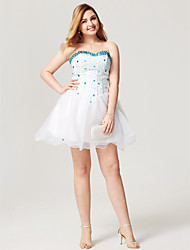 cheap -A-Line Fit & Flare Sweetheart Short / Mini Organza Cocktail Party Homecoming Dress with Beading Pleats Bandage by Sarahbridal