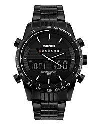SKMEI Men's Fashion Watch Wrist watch Digital Watch Digital Calendar Water Resistant / Water Proof Large Dial Stainless Steel Band Cool