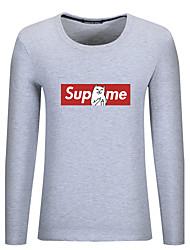 billige -Rund hals Herre - Bogstaver Bomuld Plusstørrelser T-shirt