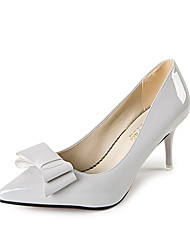 cheap -Women's Heels Comfort Patent Leather PU Spring Summer Casual Dress Party & Evening Comfort Buckle Stiletto HeelLight Black Light Grey
