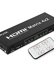 cheap -4K Matrix High Speed HDMI V1.4 4X2 HDMI Matrix Switch(4 in 2 out) with Remote Control Support 3D 1080P for XBOX DVD PS3 PS4 Projector