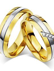 cheap -Couple's Couple Rings AAA Cubic Zirconia Gold Cubic Zirconia Titanium Steel Round Vintage Elegant Wedding Anniversary Party Evening