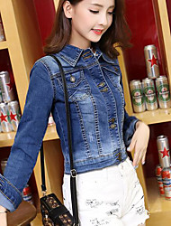 Women's Daily Modern/Comtemporary Spring Fall Denim Jacket,Solid Shirt Collar Long Sleeve Short Others