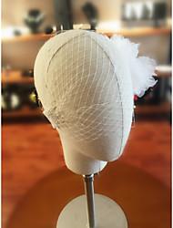 Uma Camada Corte da borda Véus de Noiva Véu Ruge Com Pente Flôr Organza Tule