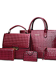cheap -Women's Bags PU Bag Set Pattern / Print for Office & Career Red / Gray / Brown