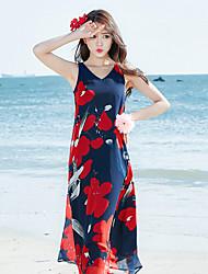 Tee Shirt Robe Femme Fleur Col en V Maxi Sans Manches Polyester Eté Taille Normale Non Elastique Fin