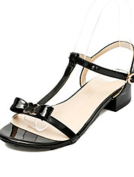 Women's Sandals Classic Sweet Fashion Club Shoes Spring Summer PU Party/Evening Daily Going out Buckle Chunky Heel White Black Ruby 1in-1