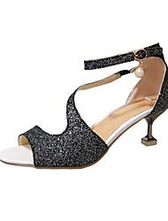 preiswerte -Damen Schuhe Paillette PU Sommer Pumps High Heels Walking Stöckelabsatz Spitze Zehe Paillette für Kleid Party & Festivität Gold Schwarz