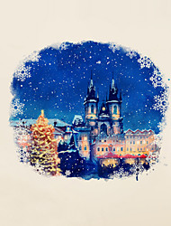Wall Stickers Wall Decals Christmas Town Night View PVC Wall Stickers
