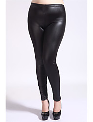 Women's Mid Rise High Elasticity Skinny Legging PantsSimple Pencil Skinny Pure Color Solid Faux Leather Leggings To the Fat Lady