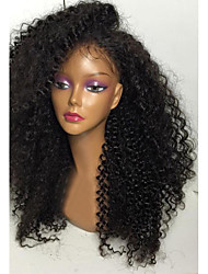 cheap -Human Hair Full Lace / Glueless Full Lace Wig Kinky Curly 150% Density Natural Hairline / African American Wig / 100% Hand Tied Women's Short / Medium Length / Long Human Hair Lace Wig
