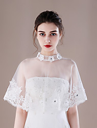 Women's Wrap Capelets Tulle Wedding Party/ Evening Lace-trimmed Bottom