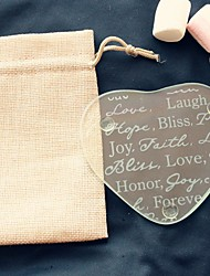 cheap -1pcs/bag - Hope Bliss Peace Love Forever Glass Coaster in Burlap Bag Wedding Party Decoration Beter Gifts® Life Style