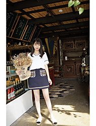 Women's Going out Casual/Daily Skirts Simple Fashion Spring Summer T-shirt Skirt Suits,Solid Embroidery Round Neck Short SleeveStylish