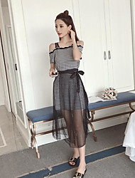 Women's Casual Striped Summer T-shirt Skirt Suits,Striped Bateau Short Sleeve Inelastic