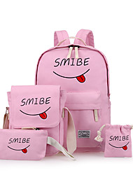 cheap -Women Bags Canvas Backpack 4 Pieces Purse Set Ruffles for Outdoor All Seasons Black Blushing Pink Dark Blue Gray Yellow