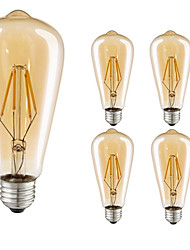 cheap -5pcs 4W E27 LED Filament Bulbs ST64 COB 360lm Warm White Edison Filament Light AC220-240V