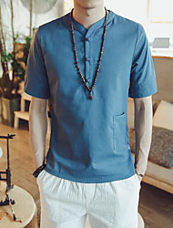 Men's Going out Casual/Daily Simple Summer T-shirt,Solid Round Neck Short Sleeves Linen Others