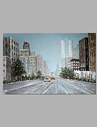 cheap -IARTS® Abstract Modern City Street View & Running Car Scenery Handmade Oil Painting On Canvas with Stretched Frame Wall Art For Home Decoration Ready